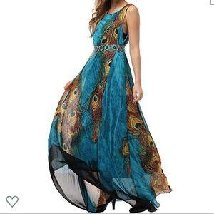 Flowy chiffon Maxi dress belted peacock print. NWT